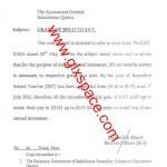 Grant of BPS-17 to Baluchistan Schools SSTs & Option to Pix Pay after Annual Increment