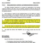 Regularization of Contract Lectures Recruited in the Year 2012