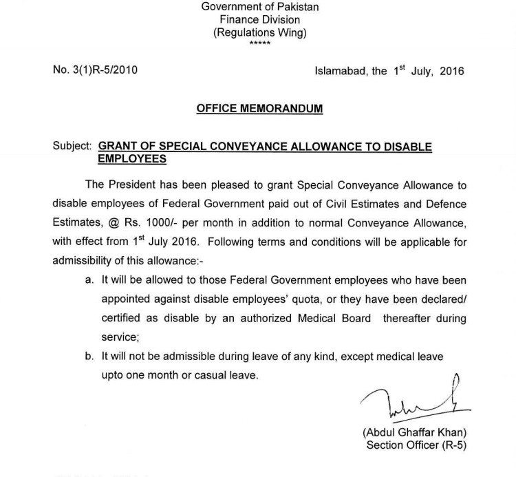 Special conveyance allowance sindh govt disabled employees notification of special conveyance allowance to special employees thecheapjerseys Images