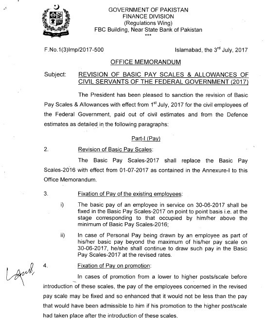 Notification Revised Pay Scale 2017