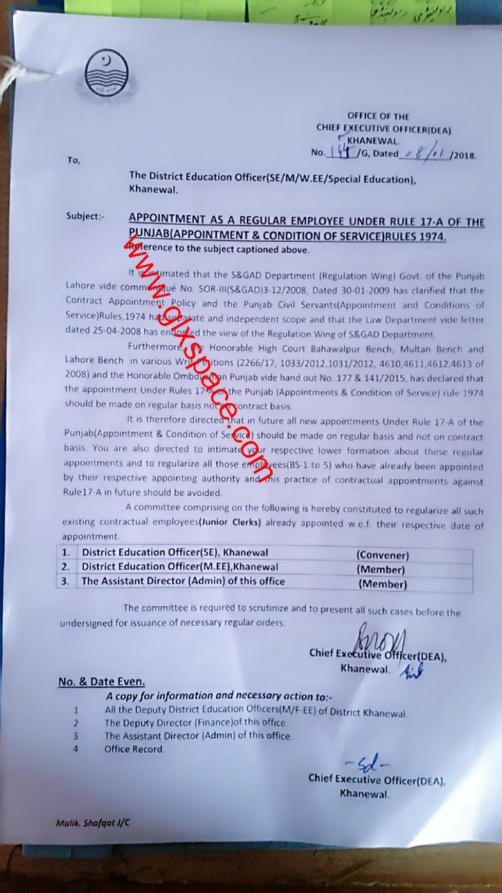 Appointment on Regular Basis Instead of Contract Under Rule-17
