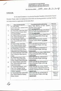 Notification of Promotion Junior Clerks as Senior Clerk-Directorate of Special Education