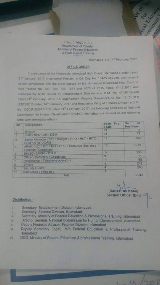 Revision of Positions National Commission