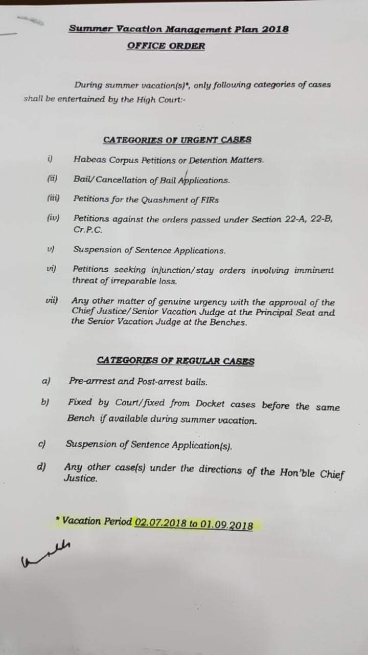 Summer Vacation 2018 High Court Lahore