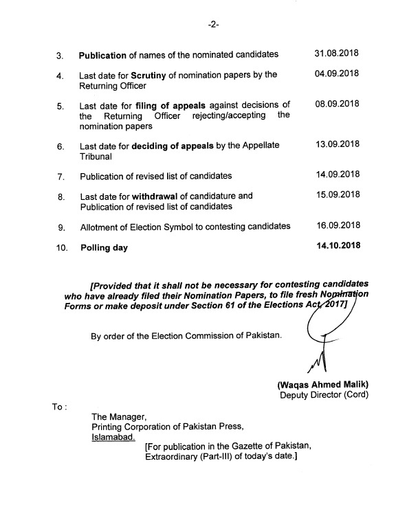 Notification of Schedule Bye-Election