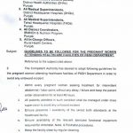 Notification of Guidelines to be Followed for the Pregnant Women Attending Healthcare Facilities of P&SH Department