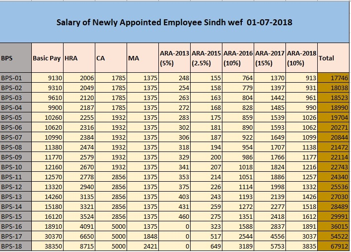 Salary of Newly Appointed Government Employee of Sindh