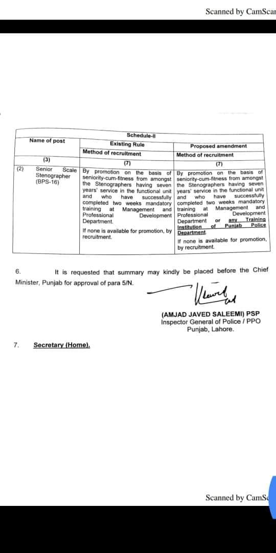 Amendment in Punjab Police Ministerial Posts Rules 2017