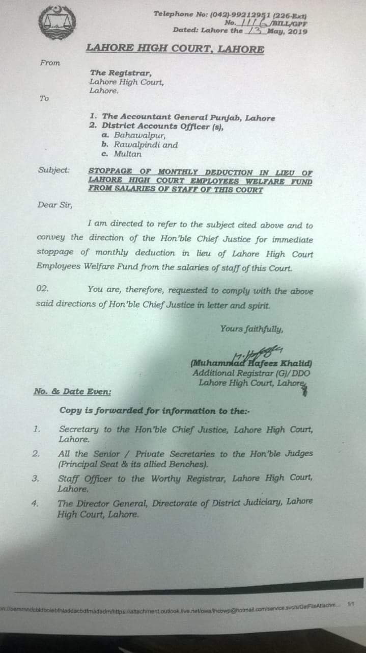 Stoppage of Monthly Deduction