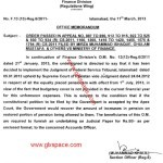 Notification of Restoration of Pension after 15 Years of Retirement by the Finance Division