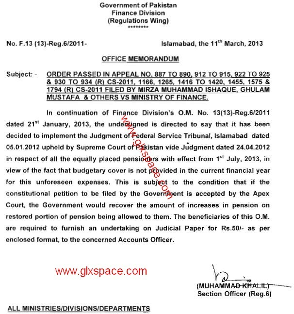 Notification of Finance Division in connection with restoration of ...