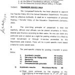 Transfer Policy 2013 School Education Department Punjab