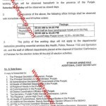 Notification of 2 Days Weekly Holidays in Punjab 2013