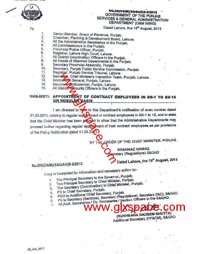 Regularization Notification of BPS-01 to 15 Punjab Government Employees