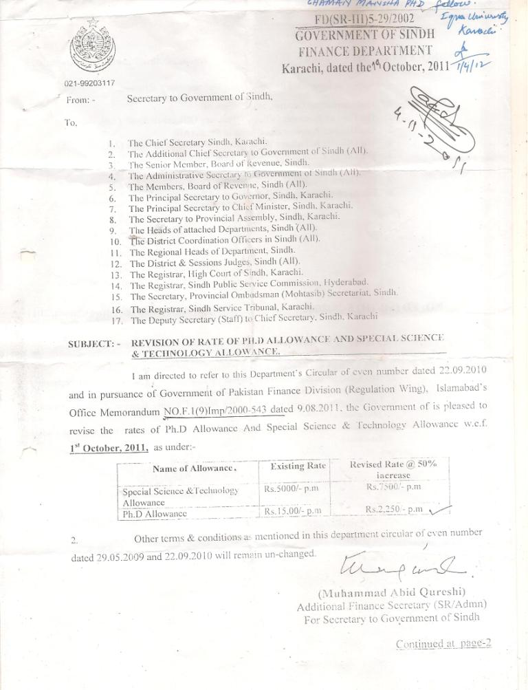 Ph.D Allowance Sindh
