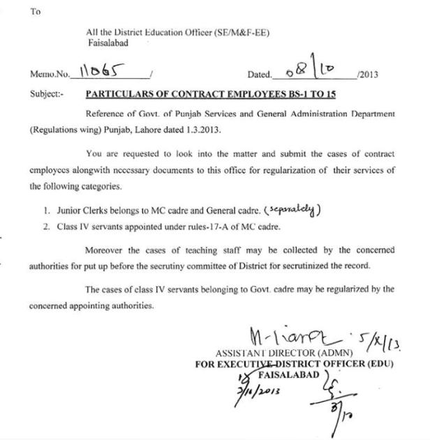 Regularization of Contract Employees