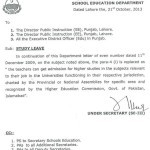 Study Leave for Punjab Govt School Teachers