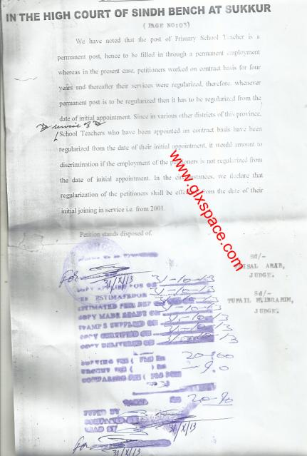 Regularization of Sindh PSTs Since First Appointment-Full Copy of Decision of Sindh High Court Sukkur Bench