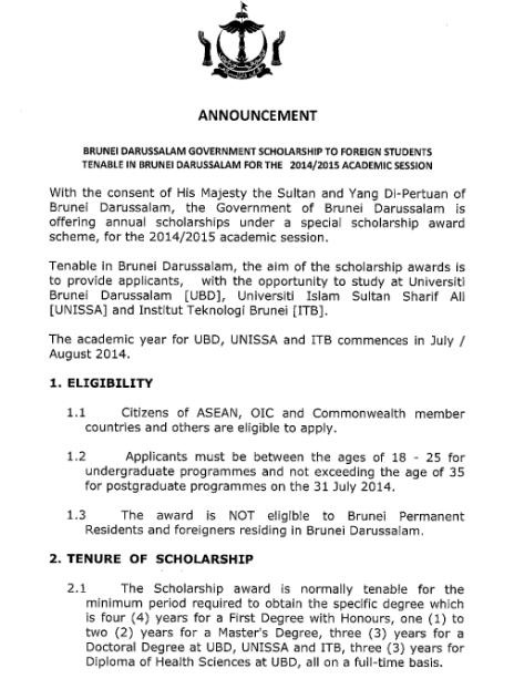 Scholarships 2014-2015 for Foreign Students by Brunei Darussalam Govt