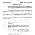 Appointment of an Officer of Lower Grade to a Post of Higher Grade and Grant of Pay of the Higher Post-Notification of Sindh Govt 2006