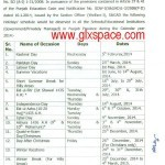 Notification of Schedule of Holidays in 2014 by School Education Department Punjab