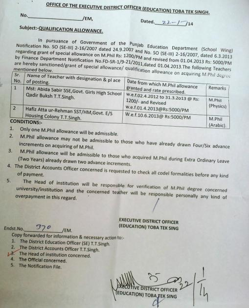 Qualification Allowance Notification Issued By EDO (Education) Toba Tek Singh