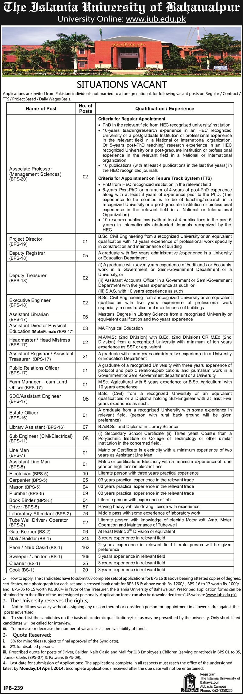 Teaching & Non Teaching Jobs at Islamia University Bahawalpur