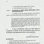 Allocation of Posts under Recruitment Policy 2013 for Educators in Punjab
