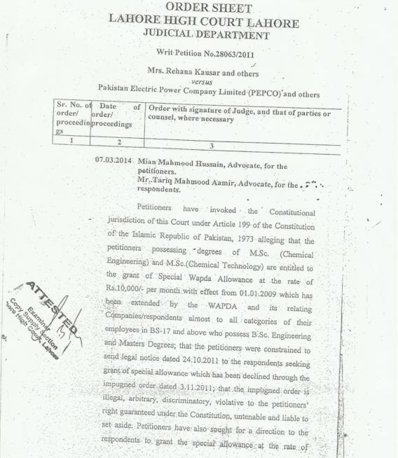 LHC Judgment Regarding Grant of Special Wapda Allowance @RS-10000/- PM to the Chemical Officers of PEPCO/WAPDA wef1/09/2009