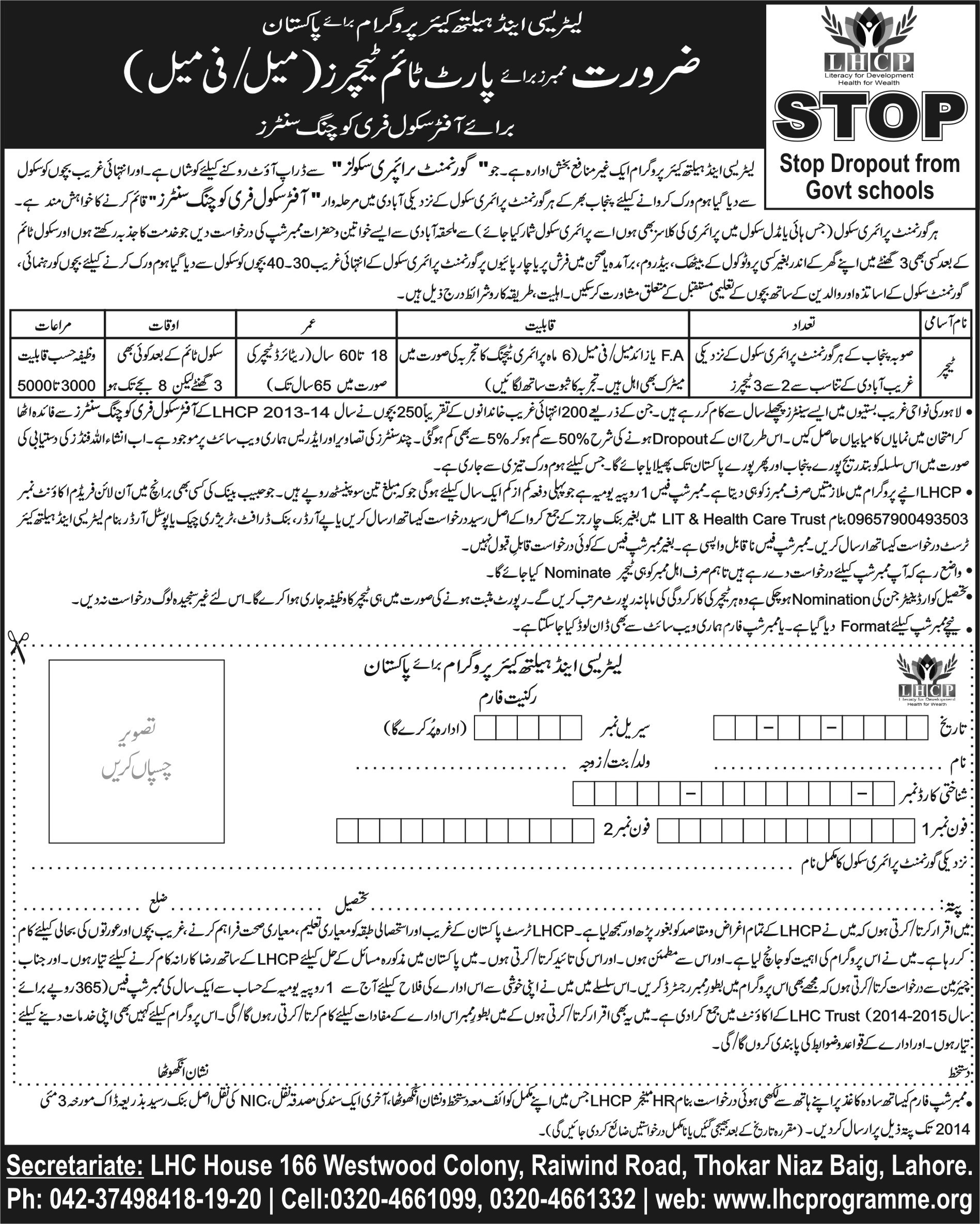 Jobs of Part Time Teachers-Literacy & Health Care Programme for Pakistan