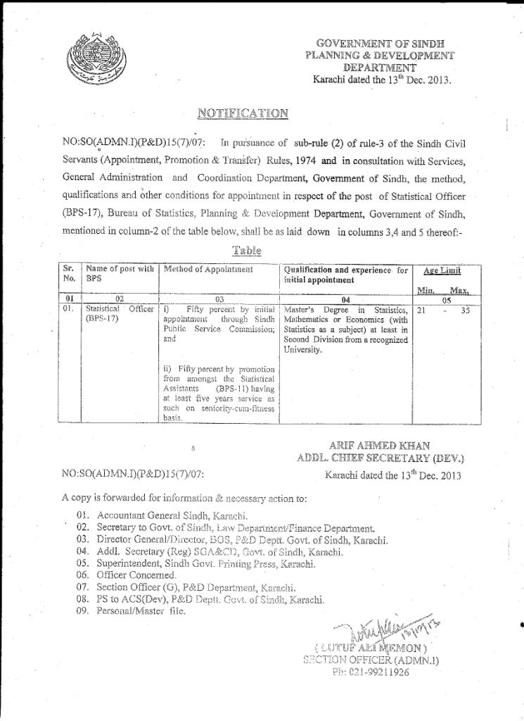 Appointment Statistical Officer