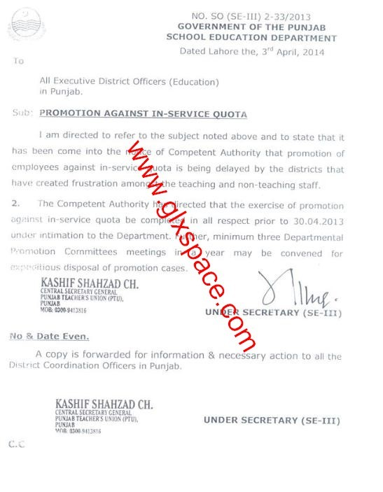 Promotion against In-Service Quota in School Education Department Punjab