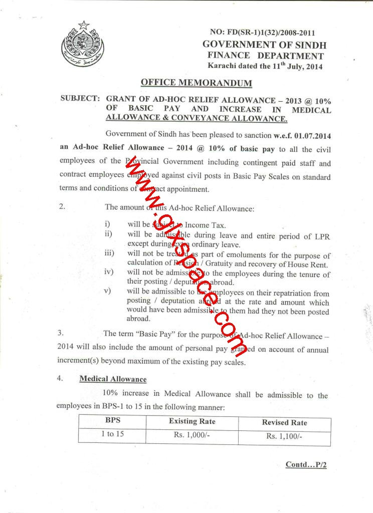 Notification of Adhoc Relief Allowance 2014 & Conveyance Allowance, Medical & Premature Increment to Class-IV Employees by Sindh Government
