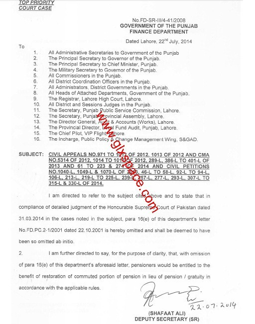 Finance Department Punjab Issued Notification of Restoration of Commuted Portion of Pension