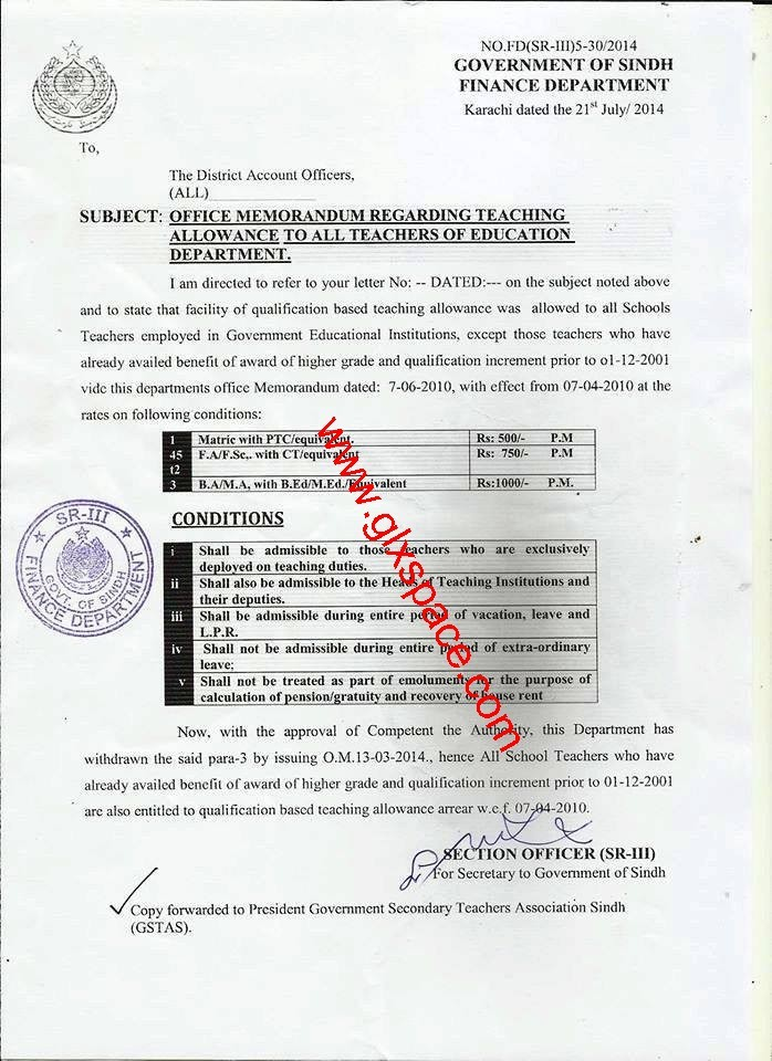 Teaching Allowance to All Teachers of Education Department-Notification by Finance Department Sindh