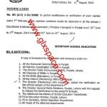 Notification of Extension in Summer Vacations in Punjab by School Education Department