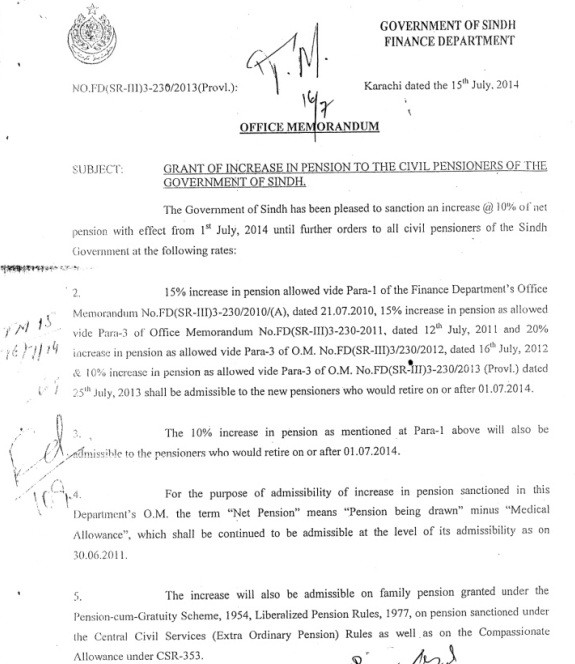 Notification of Grant of Increase in Pension 2014 by Sindh Govt