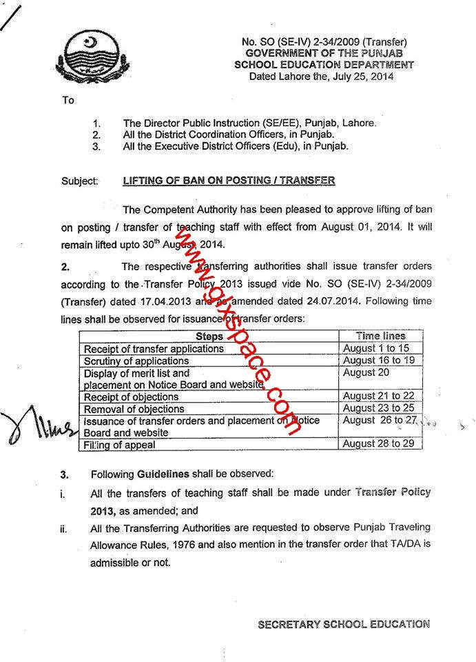 Notification of Lifting of Ban on Transfer Posting in Punjab in 2014