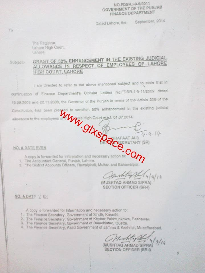 Grant of 50% Enhancement in the Existing Judicial Allowance IRO Employees of LHC