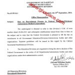 Notification Regarding Lifting of Ban on Recruitment Process by Federal Govt