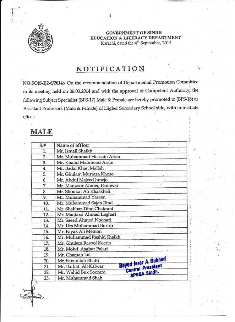 Notification of Promotion of Subject Specialists Education Department Sindh
