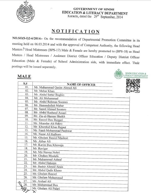 Headmasters Promotions Sindh