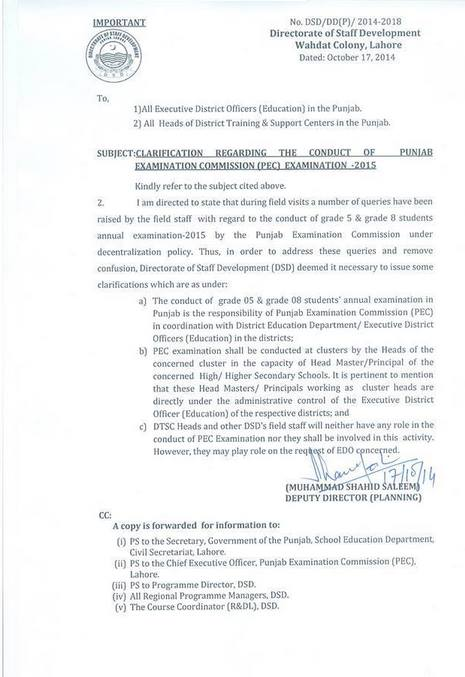 Clarification Regarding the Conduct of PEC Examination 2015