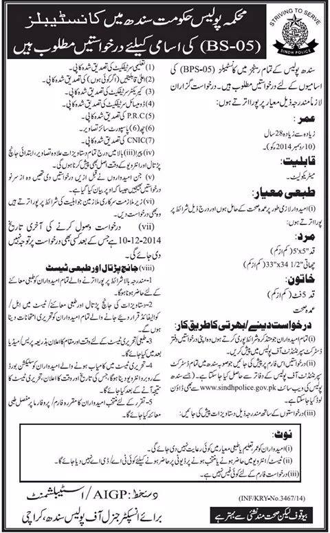 Vacancy Sindh Police