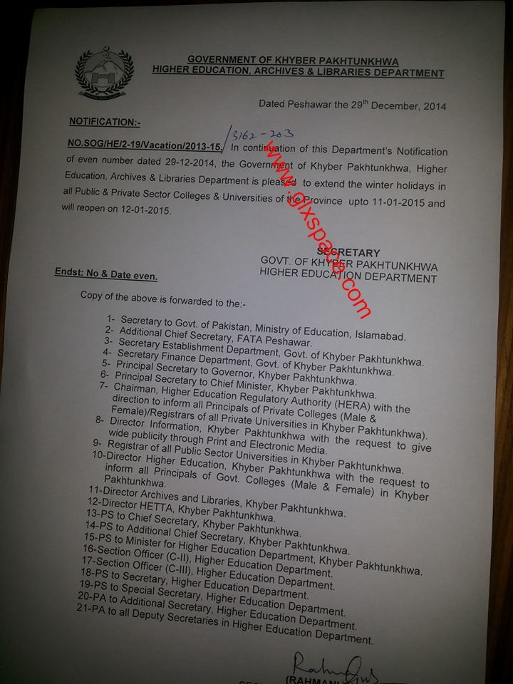 Notification of Extension in Winter Holidays in KPK Colleges & Universities