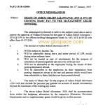 Notification of Grant of Adhoc Relief Allowance 2014 to Management Grade Officers
