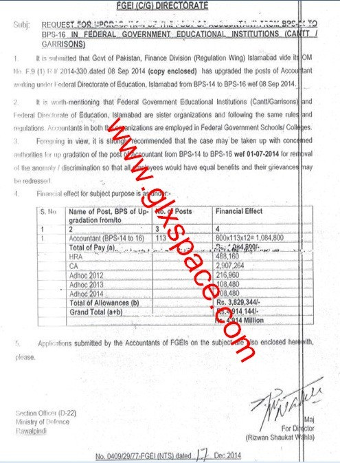 Upgradation Accountant BPS-16
