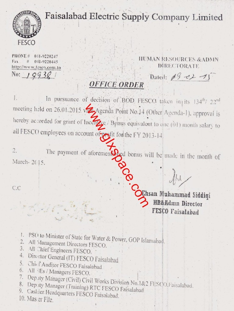 Notification of One Month Bonus Salary to All the FESCO Employees