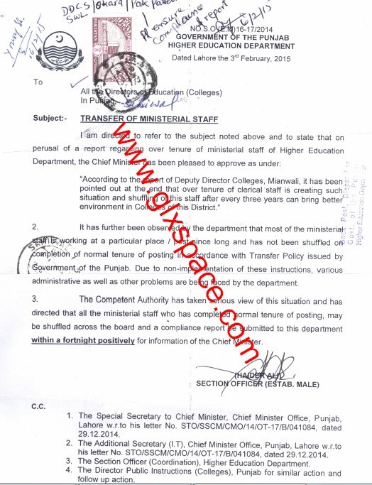 Notification of Transfer of Ministerial Staff on the Basis of Over Tenure