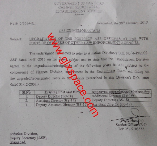 Upgradation ASF Officers